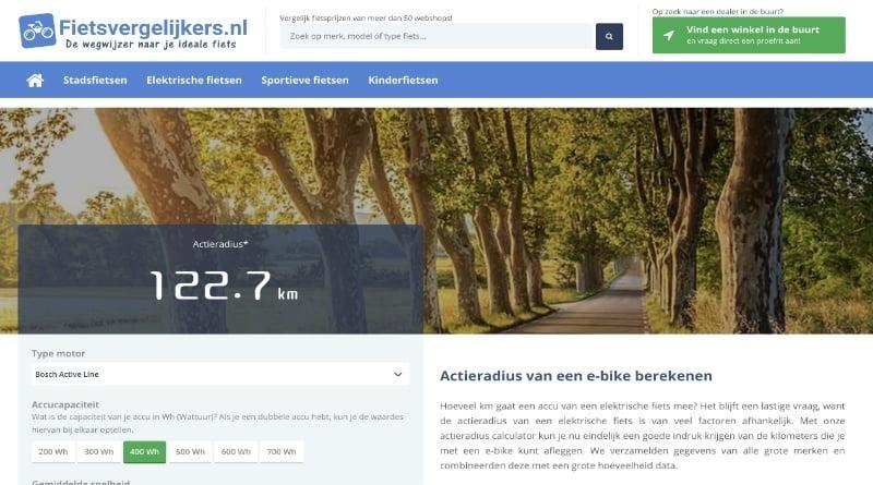 Fietsvergelijkers.nl: Calculator voor berekenen actieradius e-bike